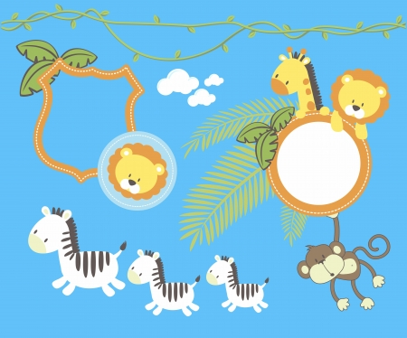 set of cute jungle animal cartoon, frames and design elements  isolated on blue background, individual objects very easy to edit
