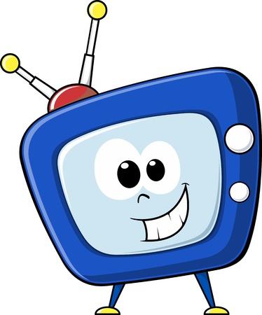 幸せそうな顔でのテレビを漫画します。