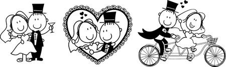 to wed: serie di cartoni animati paio di scene isolate, ideale per invito di nozze divertente Vettoriali