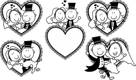 boda divertida conjunto de dibujos animados par aislado en el marco de la  forma del