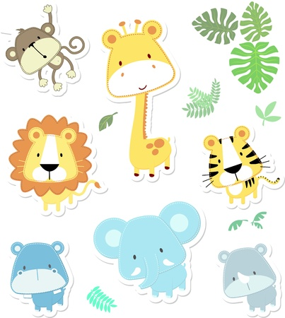 vector cartoon illustration of seven baby animals and jungle leaves, individual objects very easy to edit, ideal for childs decoration Çizim