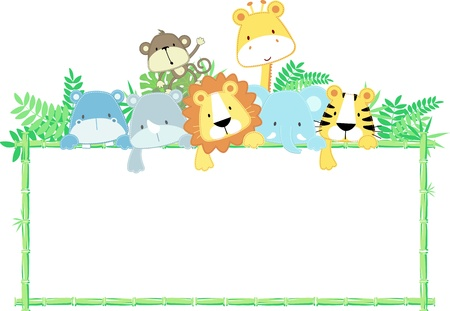 vector illustration of cute jungle baby animals with blank sign Vector