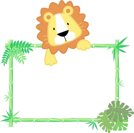vector illustration of baby lion with blank sign