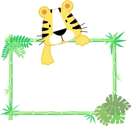 vector illustration of baby tiger with blank sign Vectores
