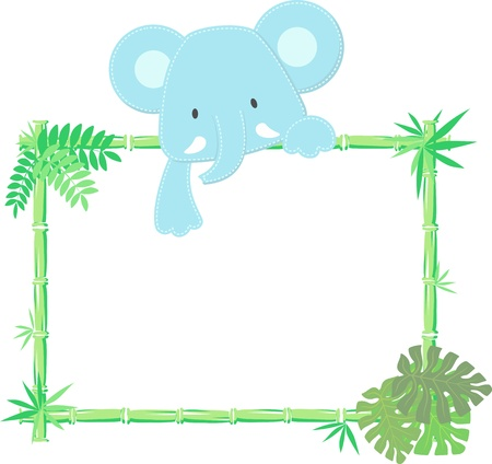 vector illustration of baby elephant with blank sign Vectores