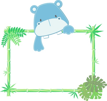vector illustration of baby hippo with blank sign