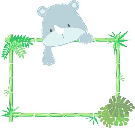 vector illustratie van baby neushoorn met leeg teken Stock Illustratie