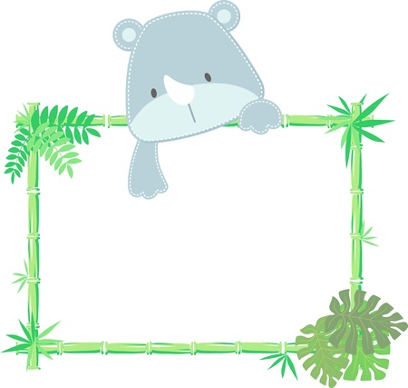 vector illustration of baby rhino with blank sign Vector