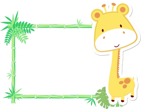 vector illustration of baby giraffe with blank sign