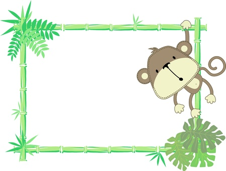 vector illustration of baby monkey with blank sign