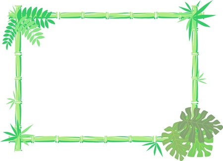 vector image of bamboo frame isolated on white background, individual objects very easy to edit Çizim