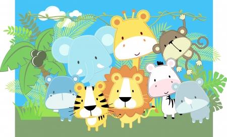 귀여운 정글 아기 동물과 정글 식물의 벡터 일러스트 레이 션 일러스트