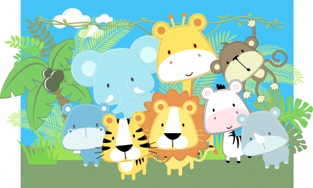 vector illustration of cute jungle baby animals and jungle plants