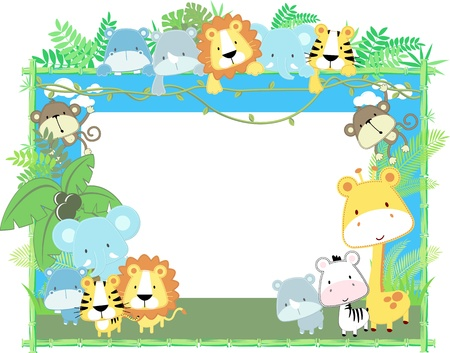 cute jungle baby animals jungle plants and bamboo frame, vector format very easy to edit, individual objects  イラスト・ベクター素材