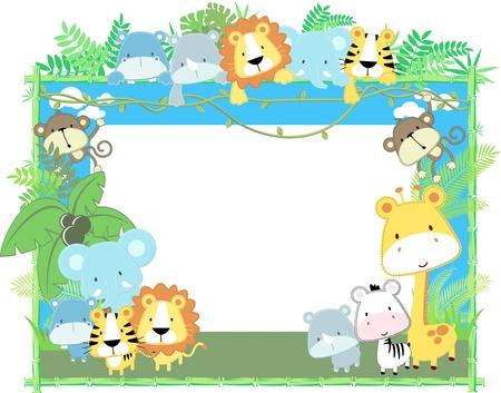 귀여운 정글 아기 동물 정글 식물과 대나무 프레임, 편집하는 것은 매우 쉬운 벡터 형식으로 개별 개체 일러스트
