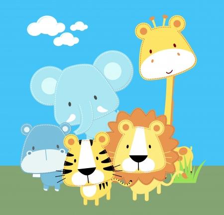 vector illustration of cute safari baby animals  イラスト・ベクター素材
