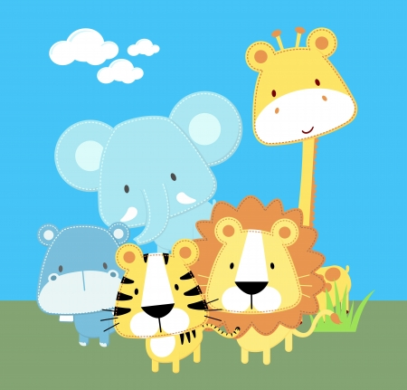 vector illustration of cute safari baby animals Çizim