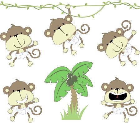 monos: conjunto de los monos del beb� con deaper y palmera aisladas sobre fondo blanco, formato vectorial muy f�cil de editar los objetos individuales Vectores