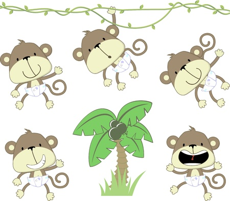 set of baby monkeys with deaper and palmtree isolated on white background, vector format very easy to edit, individual objects Çizim