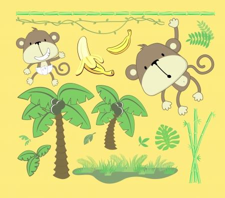 mono caricatura: imagen del vector de tema de la selva, los elementos de diseño de dibujos animados establecido para el bebé y decoración del niño