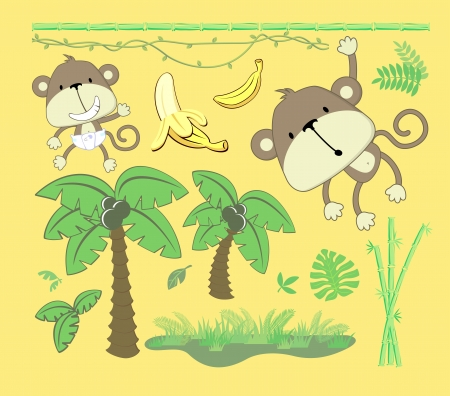monkey in a tree: vector image of jungle theme, cartoon design elements set for baby and childs decoration