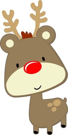 흰색 배경에 고립 된 빨간 코를 가진 귀여운 아기 사슴, 벡터 형식으로 아주 쉽게 편집 할 수