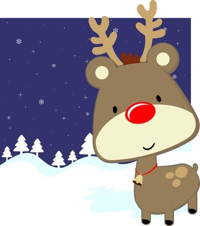 편집하는 것은 매우 쉬운 겨울 배경, 벡터 형식에 빨간 코를 가진 귀여운 아기 사슴