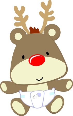 caribou: cute baby deer with red nose and diaper isolated on white background, vector format very easy to edit