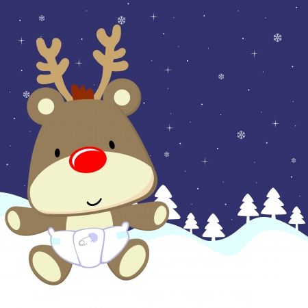 and winter: cute baby deer with red nose and diaper on winter background, vector format very easy to edit Illustration