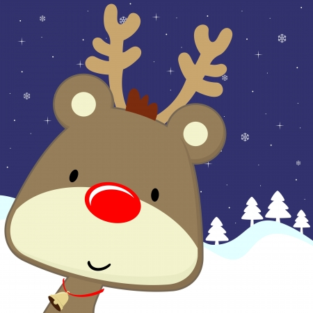 pinetree: cute baby deer with red nose on winter background, vector format very easy to edit
