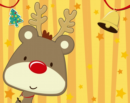 vector image of baby rudolph on christmas background with copy space foryour message