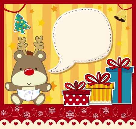vector image for christmas card with baby rudolph, gift boxes  and text ballon for your message and other xmas theme elements
