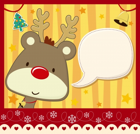 card: vector image for christmas card with baby rudolph with text ballon for your message and other xmas theme elements