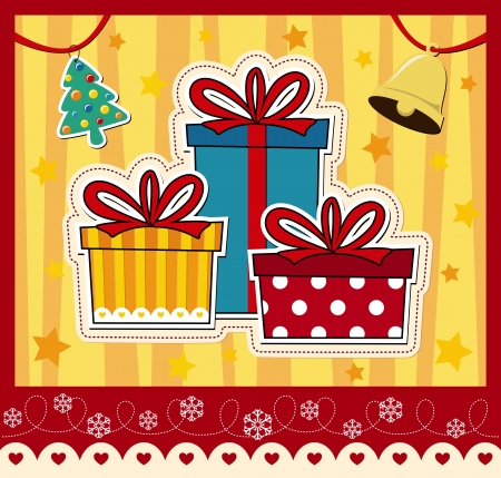 pinetree: image of christmas gift boxes, ideal for greeting card in vector format very easy to edit, individual objecs