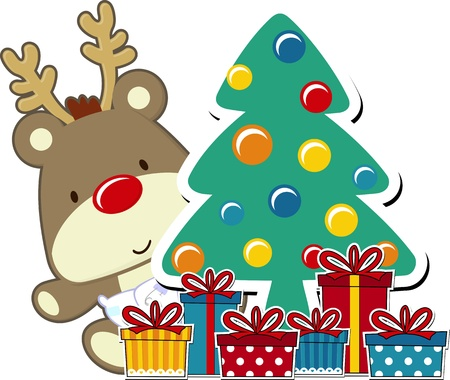 vector image of baby rudolph and christmas gift boxes  Illustration