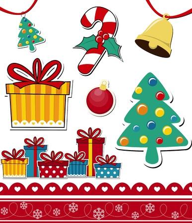pinetree: las im�genes vectoriales de elementos decoraci�n de la Navidad tema aisladas sobre fondo blanco, ideal para �lbumes de recortes o dise�os navidad
