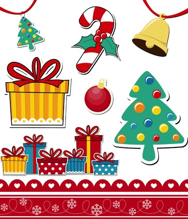 giftbox: vector images of christmas theme decoration elements isolated on white background, ideal for scrapbooking or your xmas designs