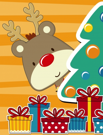 vector image for christmas card with baby rudolph, gift boxes  and tand pine tree