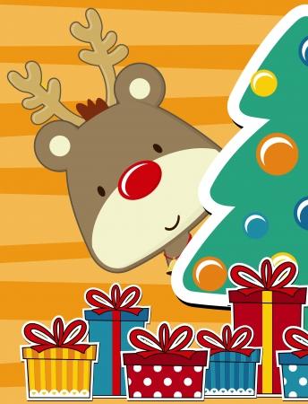 pinetree: vector imagen de la tarjeta de Navidad con el beb� rudolph, cajas de regalo y �rbol de pino tand Vectores
