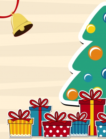 pinetree: vector image background with pine tree and gift boxes, copy space for christmas card Illustration