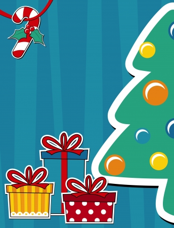 vector image background with pine tree and gift boxes, copy space for christmas card Vector