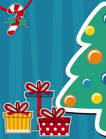 pinetree: vector imagen de fondo con �rboles de pino y cajas de regalo, copia espacio para tarjeta de navidad Vectores