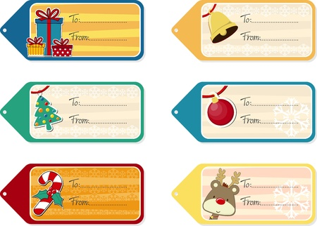 six objects: set of six christmas gift tags isolated on white background, vector format very easy to edit, individual objects Illustration