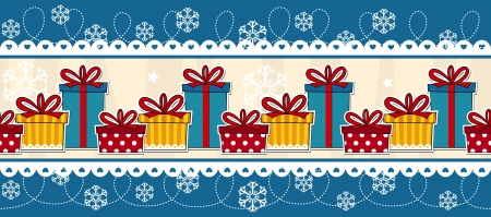 christmas seamless border with gift boxes, useful as design elements or banner, vector format avaliable very easy to edit, individual objects  イラスト・ベクター素材