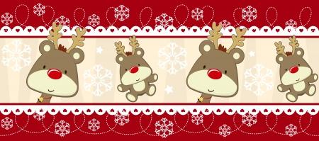 cute border: cute christmas confine senza soluzione di continuit� con il bambino Rudolph, utili come elementi di design o banner, formato avaliable vettoriale molto facile da modificare, singoli oggetti