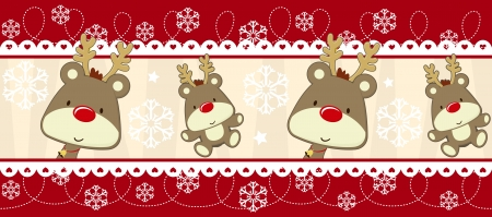 cute christmas seamless border with baby rudolph, useful as design elements or banner, vector format avaliable very easy to edit, individual objects Zdjęcie Seryjne - 15951990