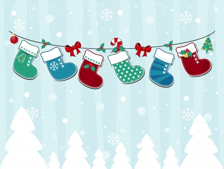vector image of winter background with christmas socks and ornaments Illustration