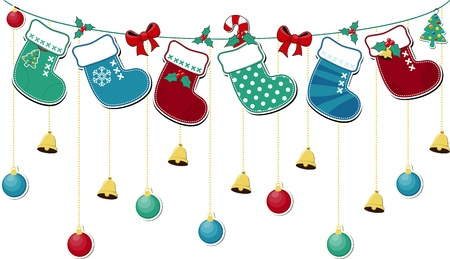 벡터 형식으로 장신구와 귀여운 크리스마스 양말, 개별 개체를 편집하는 것은 매우 쉽습니다 일러스트