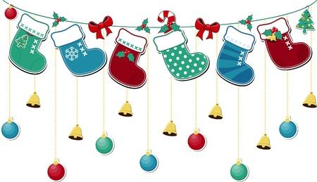 botas de navidad: lindos calcetines de Navidad con adornos en formato vectorial muy fácil de editar los objetos individuales Vectores