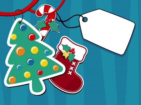 christmas decorative objects and blank hang tag for your message Ilustração